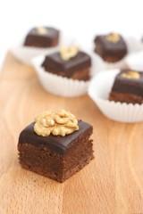 Homemade brownies with walnut and cream chocolate