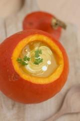 Uchiki kuri squash or Hokkaido pumpkin cream soup