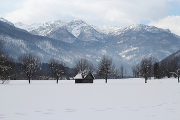 Beautiful alpine landscape covered with snow, Bohinj,