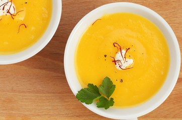 Soup made from muscat pumpkin, parsnip and potato