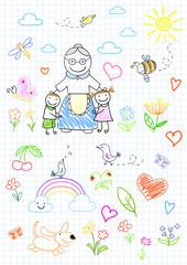 Happy children with grandmother