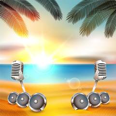 Beach background with music instruments under palm tree