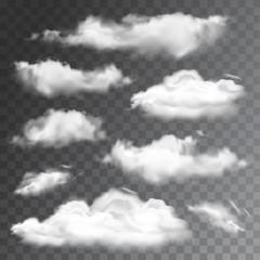 Set of transparent realistic clouds. Vector illustration