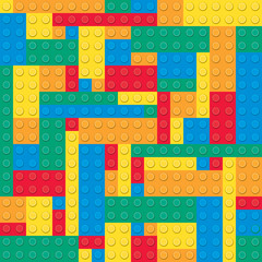 Building toy bricks. Seamless pattern