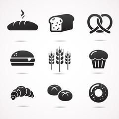 Bread icon set. Vector art.