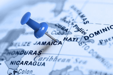 Location Jamaica. Blue pin on the map.