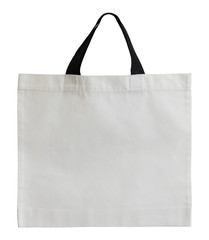white fabric bag isolated on white with clipping path