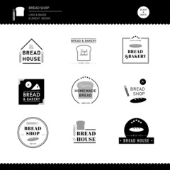 Set of Bread and bakery cafe Logo Design