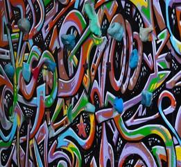 Colorful graffiti on climbing wall