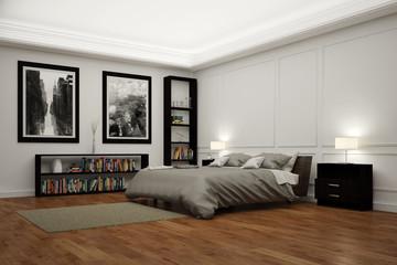 Schlafzimmer mit Bett in der Nacht