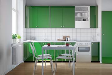 Grüne Küchenzeile in Küche