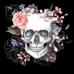 Poster Watercolor Skull Skull and Flowers Day of The Dead