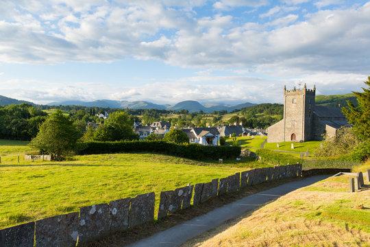 Beautiful Lake District village Hawkshead Cumbria uk