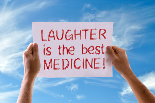 Laughter Is The Best Medicine card with sky background
