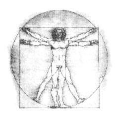 Da Vinci Vitruvian Man made of nucleobases letters