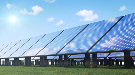 Modern Solar Panels Farm on beautiful Green Grass with Sunshine