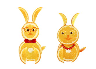 Creative food concept. Two funny easter yellow rabbits