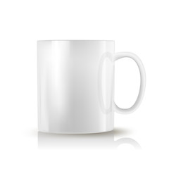 white realistic cup on white background