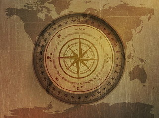 illustration of a compass, map of the world