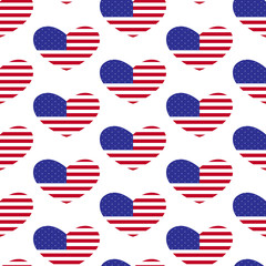 American flag heart pattern