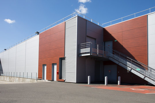 The exterior of a modern warehouse