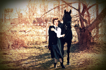 Girl and horse in retro style