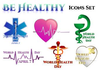 Medical symbols on white. World Health day