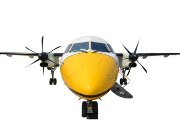 Front view turboprop airplane
