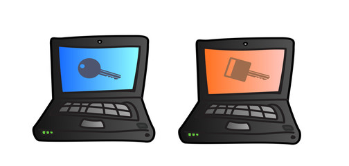 Computer icon with security symbol