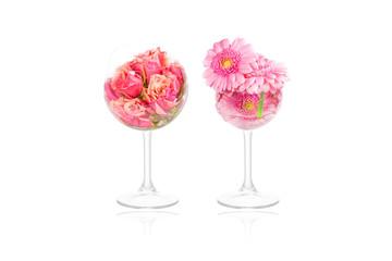 Flower decoration in glasses