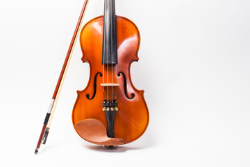 beautiful wooden violin isolated on white background