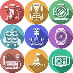 Diving flat color icons collection