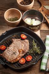 Fried beef steak.