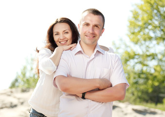 Portrait of happy smiling couple outdoor