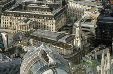 View from above of the historic Royal Exchange building in the centre of the City of London.  The building is now home to luxury shops and restaurants.
