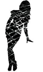 Scrawled silhouette sexy women