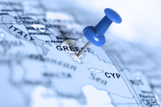 Location Greece. Blue pin on the map.
