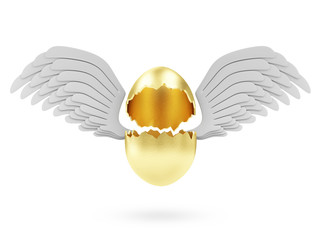 Easter Concept. Empty Broken Big Golden Egg with Angel Wings