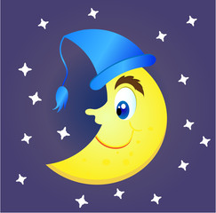 Smiling, yellow moon with a big nose and a blue cap. White stars