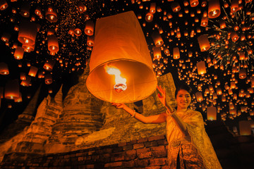 Thai people floating lamp in Ayuthaya historical park