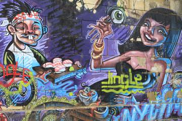 Fotobehang Graffiti collage Graffiti Bildwand Kunst Stadtleben
