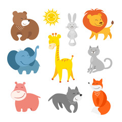 Cartoon animals zoo