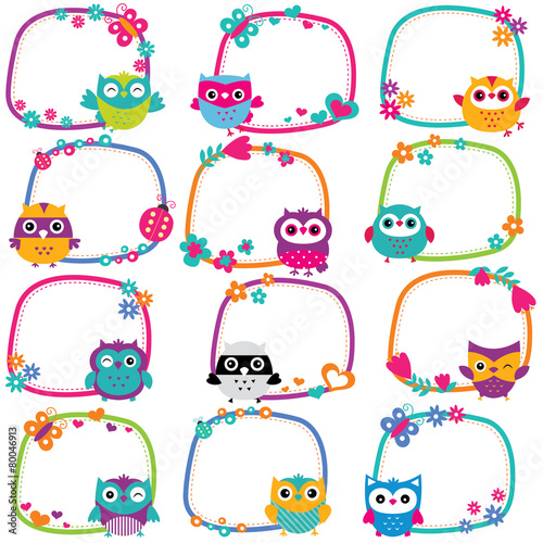 Cute owl frames clip art set stock image and royalty for Diario mural en ingles