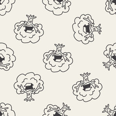 Doodle Treehouse seamless pattern background