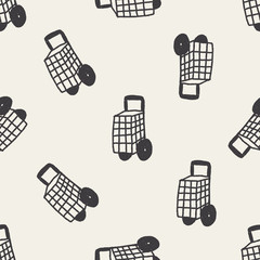 Doodle Shopping cart seamless pattern background