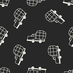 Doodle Truck seamless pattern background