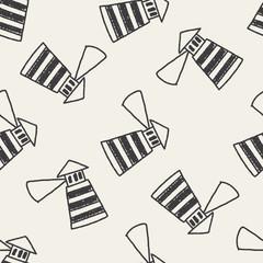doodle lighthouse seamless pattern background