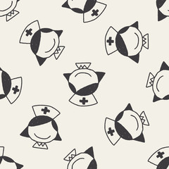Doodle Nurse seamless pattern background