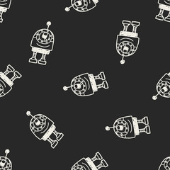 Doodle Robot seamless pattern background