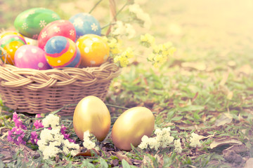 Colorful easter eggs decorate with flower on grass in vintage st